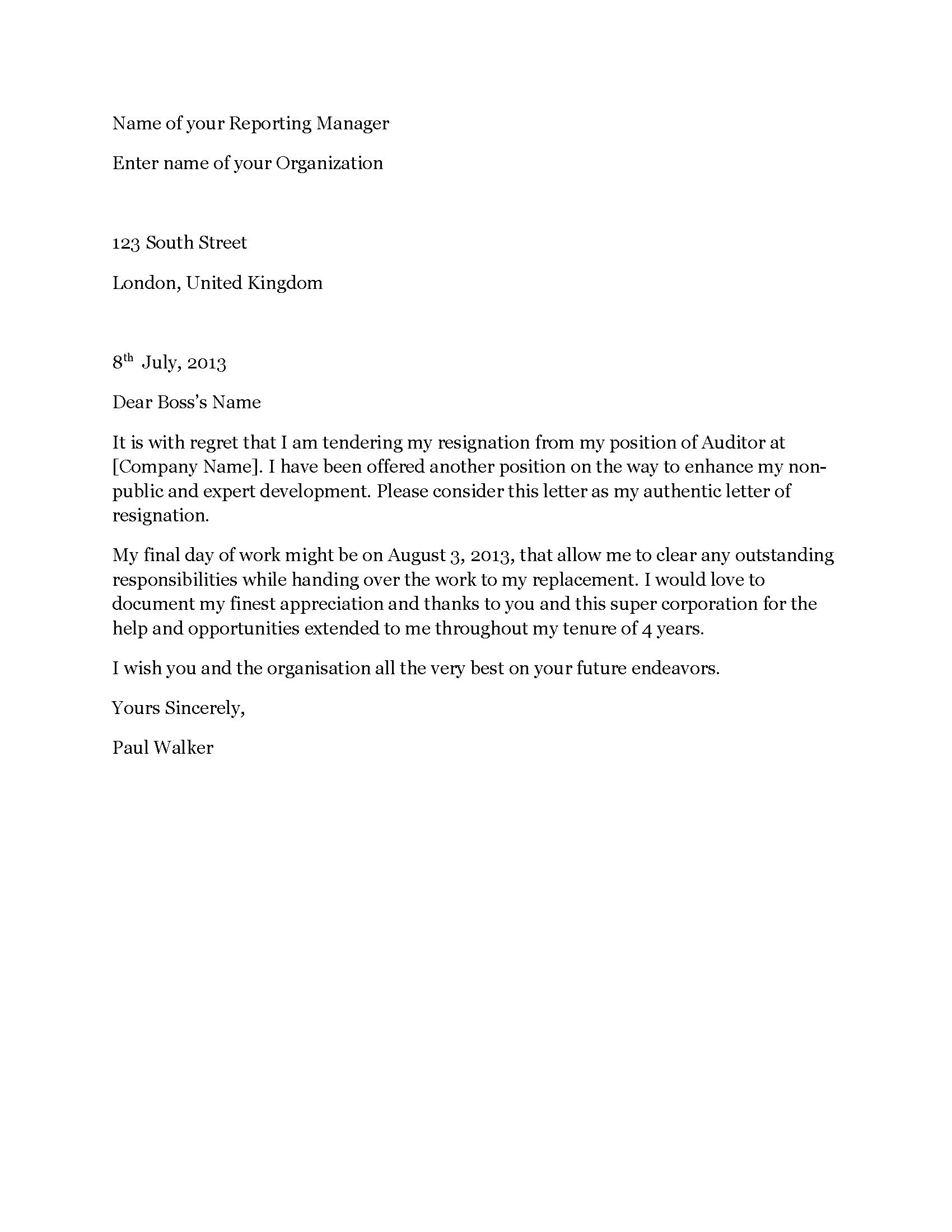 Resignation Letter Due To New Job from www.resignationletters.co.uk