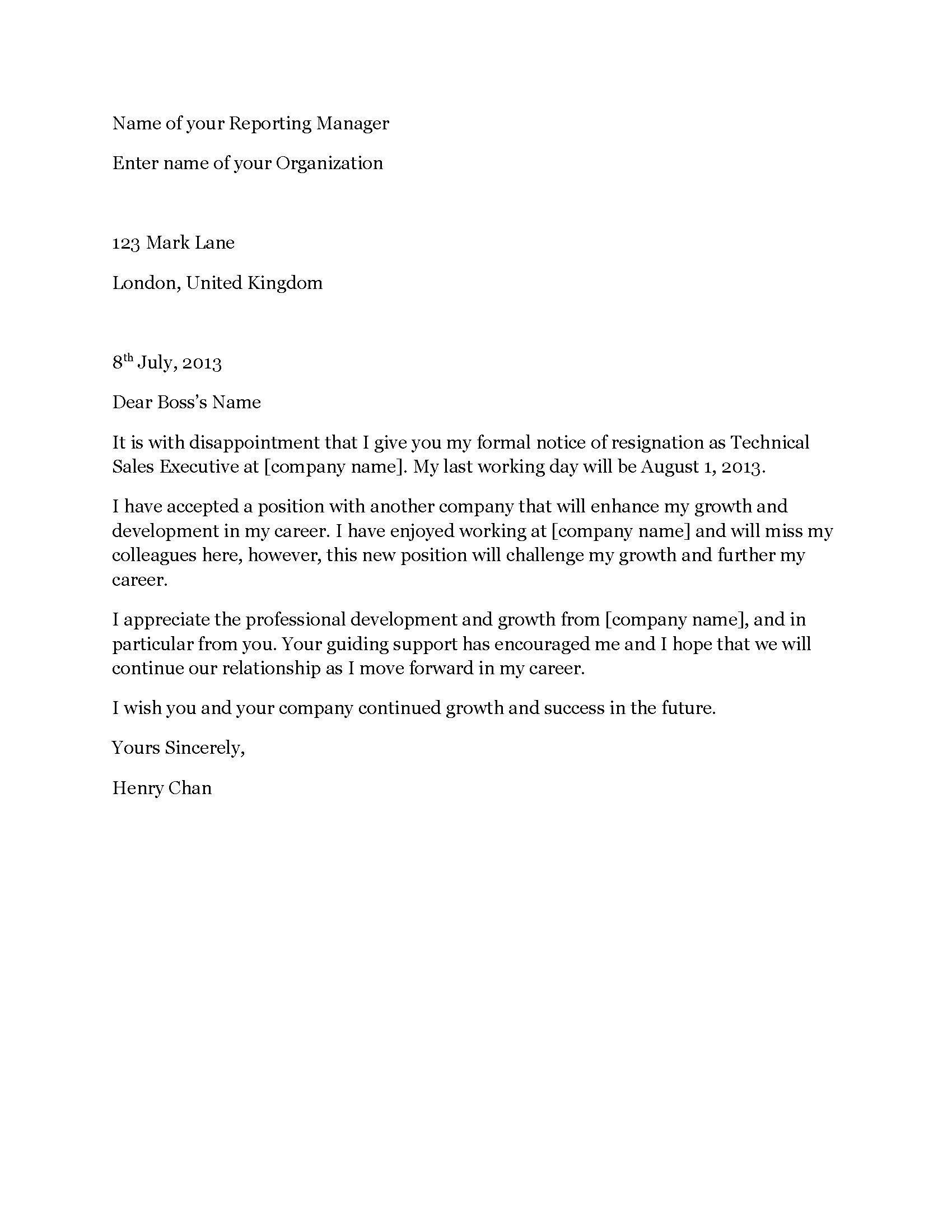 Resignation letter modern resignation letter expocarfo Images